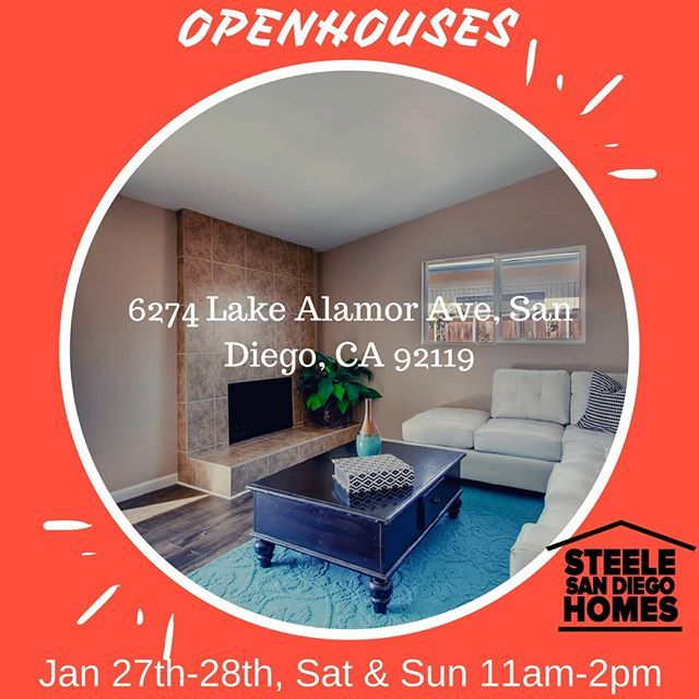 Openhouse at 6274 Lake Alamor Ave, San Diego, CA 92119 on January 27th and 28th, Sat-Sun, between11am-2pm! Mark your calendars! #sandiegorealestate#sandiegorealestateagent#sandiegorealtor #sancarlos#realestateinvesting #remodel#renovation #dreamhome #openhouse#home#saturday#sunday#lake#justinewolf - posted by John and Melissa Steele https://www.instagram.com/steelesandiegohomes - See more San Diego Real Estate photos from San Diego Realtors at https://NewHomes