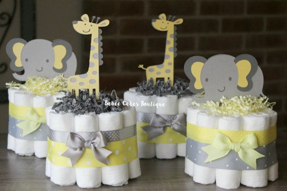SET OF 4 Mini Yellow and Gray Elephant and Giraffe Diaper Cakes, Jungle Safari Baby Shower Centerpieces, Light Yellow Grey, Gender Neutral