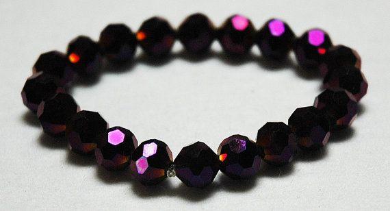 Disco Bead Bracelet Purple Bracelet Elasticated by KwaiJewellery, $20.00