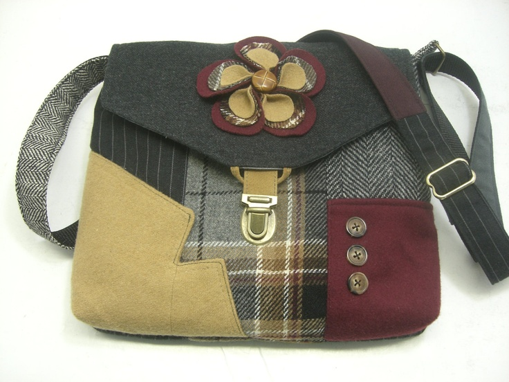 How cute is this! Recycled purse, fabric flower,  ox blood grey plaid wool, mens suit coat. $63.00, via Etsy.