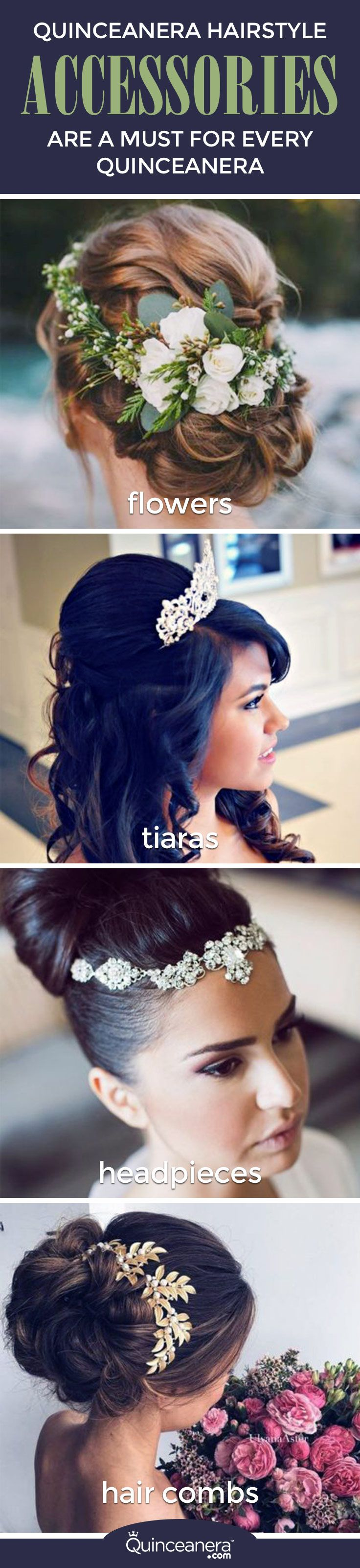 You'll soon learn that wearing hair accessories has become a must for every quinceanera! Find the hairstyles and hair accessories that scream YOU.
