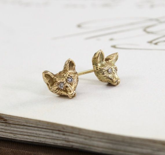 Gold Fox Studs Diamond Eyes 14k Yellow Gold by TheEdenCollective