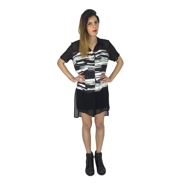 Vestito camicia fantasia con trasparenze Ufficio 87