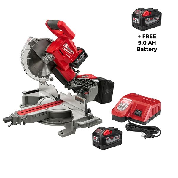 Milwaukee 2734-21HD M18 FUEL Dual Bevel Sliding Compound Miter Saw Kit w/ FREE Extra 9.0 Battery