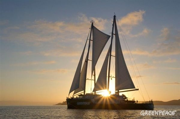 The new Rainbow Warrior sails into Matauri Bay, New Zealand, the final resting place of the original Rainbow Warrior. www.greenpeace.org