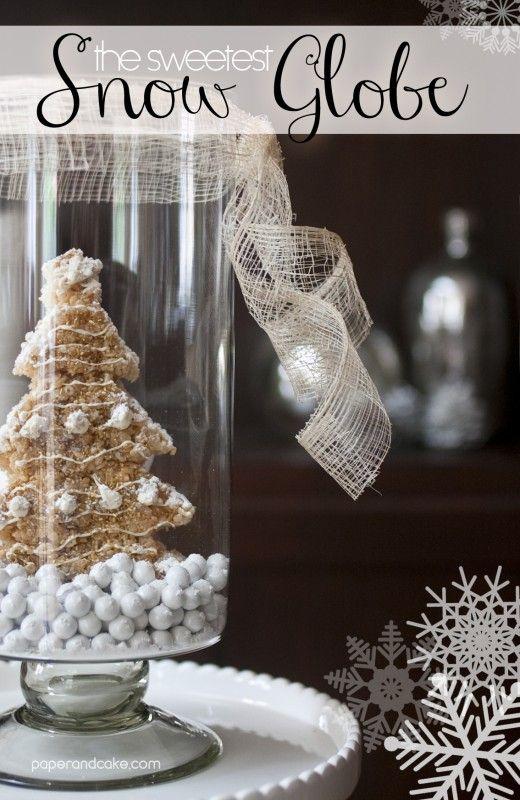 Edible snow globe with Rice Krispie treat christmas tree   paper & cake