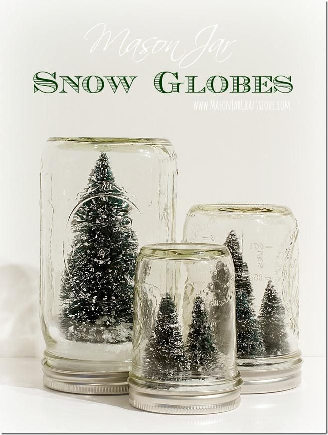 Mason Jar Snow Globes Anthropologie-inspired