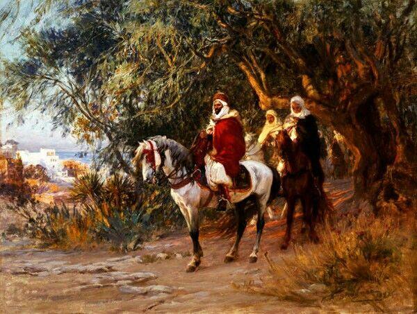Algérie - Peintre American Frederick Arthur Bridgman (1847 – 1928), huile sur toile , Titre : Le retour des cavaliers Arabes