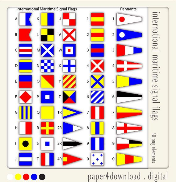 Maritime Signal Flags  Clipart  Digital Collage by paper4download