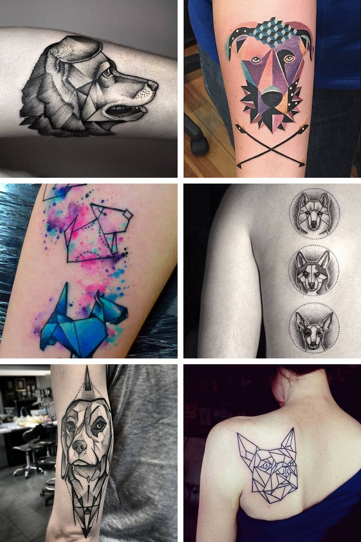 6 inspiring geometric tattoo ideas for dog lovers. Would you get a memorial tattoo for your pet?