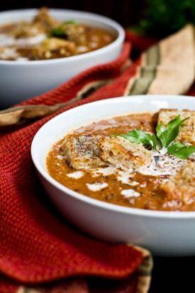 Creamy Roasted Tomato, Garlic, & Onion Coconut Soup - vegan soup recipe
