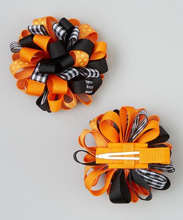 Take a look at this Orange & Black Gingham Puff Clip Set by Bubbly Bows on #zulily today!