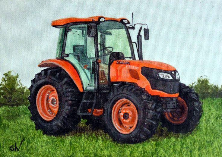 Painting Kubota Tractor Style, Realism, Tractors