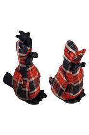 Ajtókitámasztó állatfigurák piros-fekete kockás mintávalVálasztani lehet kacsa és kakas közülMéretek: magasság: 23 cm szélesség: 10 cm mélység:12 cmSúlya: 0,94 kg
