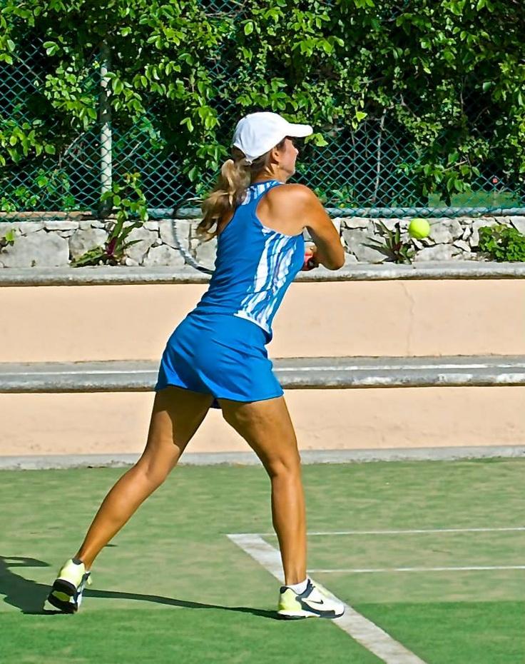 Las chicas demostrando la Garra en el primer torneo de Tenis en Puerto Aventuras