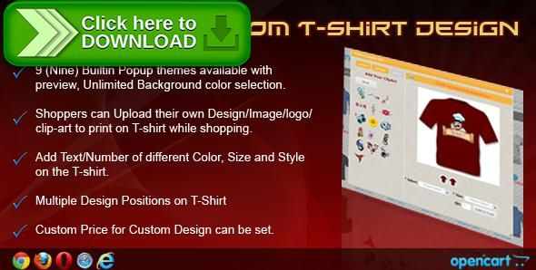 [ThemeForest]Free nulled download OpenCart Custom T-Shirt Design from http://zippyfile.download/f.php?id=50208 Tags: ecommerce, custom t shirt maker, custom t shirt opencart, image, logo, make my own t shirt, opencart product builder, print, printing, product builder, Product image, product print, shirt, tshirt