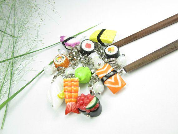 Sushi Bracelet Charm - food sushi jewelry, polymer clay charm bracelet