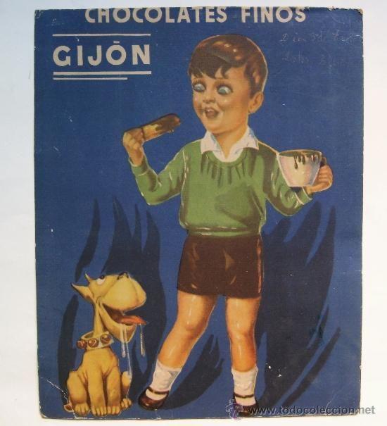 CARTEL CHOCOLATES FINOS GIJON ASTURIAS AÑOS 40-50