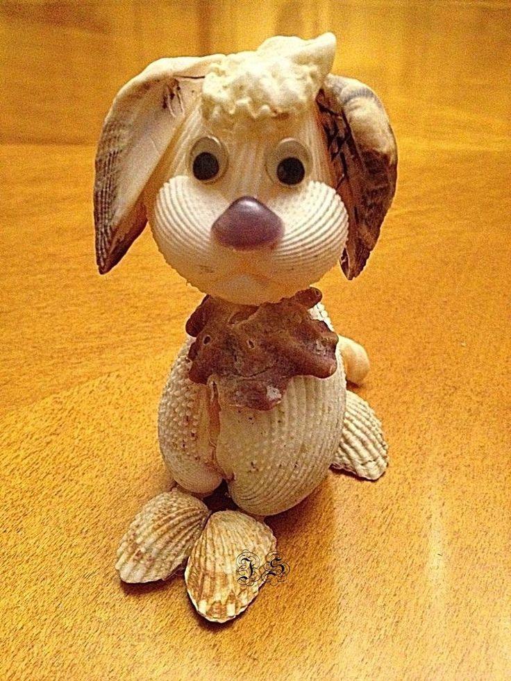 Natural Seashell Dog Sculpture Original Handmade Animal Figurine Sea Shell Art