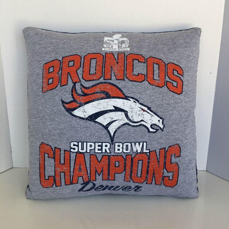 Denver Broncos Super Bowl 50 T shirt Pillow, Super Bowl Pillow, Denver Broncos Pillow, Valentine Gift, Broncos Fan Gift, Man Cave Decor' by MossReCreations on Etsy