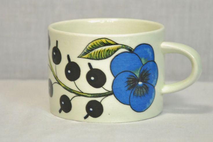 ARABIA FINLAND PARATIISI COFFEE CUP BLACK AND WHITE RARE! EUC
