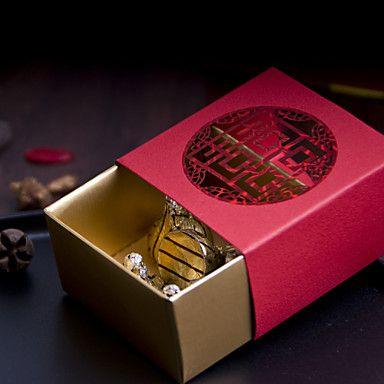 Boîtes Cadeaux ( Or/Rouge , Papier durci Mariage/Fête prénuptiale/Fête de naissance/Bonbon seize/Anniversaire de 3082759 2016 à €6.85