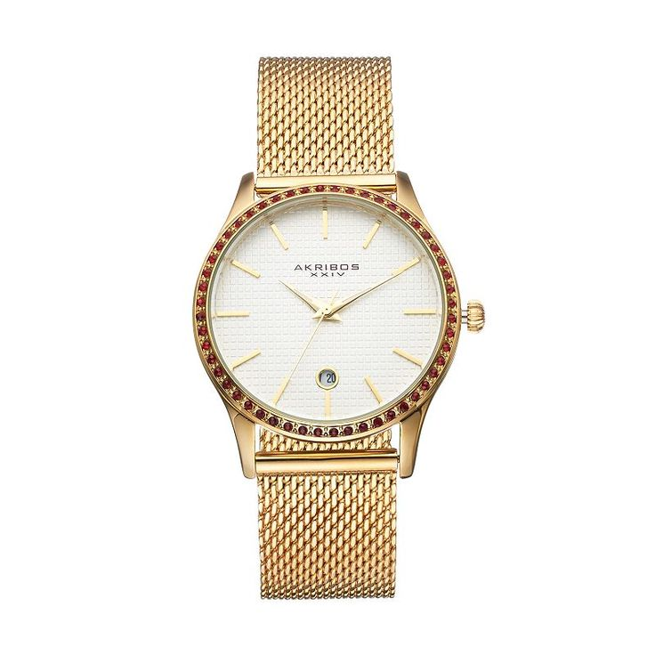 Akribos Xxiv Women's Glimmer Crystal Stainless Steel Mesh Watch, Yellow