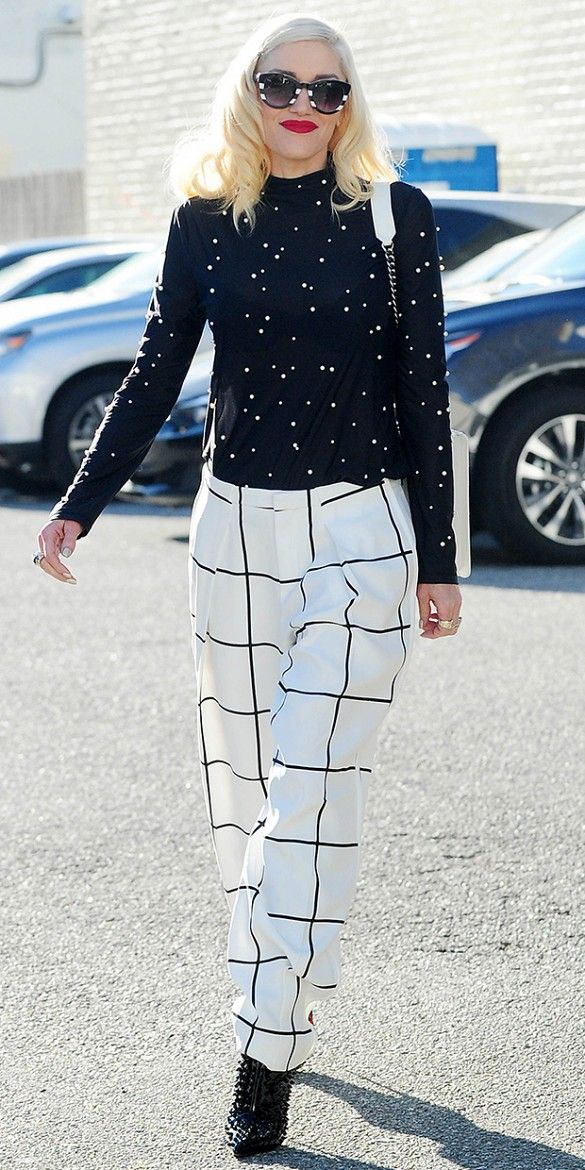 Gwen Stefani expertly mixes prints in polka dots and windowpanes + studded ankle boos