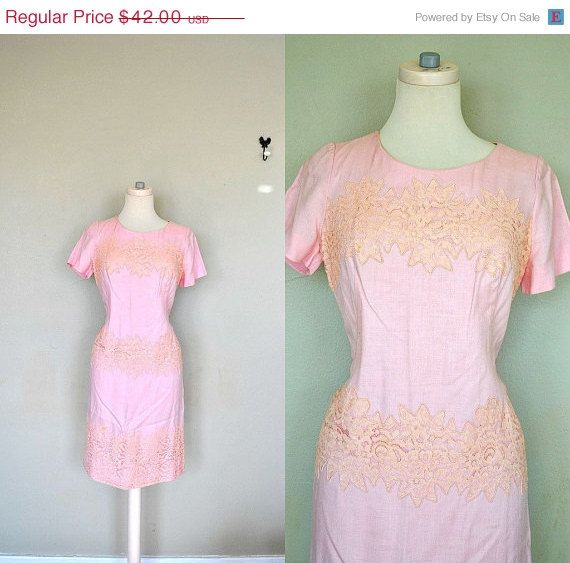 Blush Pink 1960s Pink Dress / Pink Cotton Lace by UntamedVtgCo