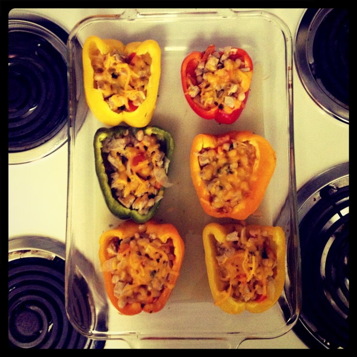 Chicken and White Bean Stuffed Peppers via skinnytaste.com. I changed ...