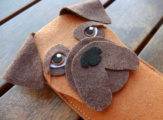 Boxer iPhone Case - Dog Felt Phone Sleeve- Cell Phone Cover - Handmade felt case