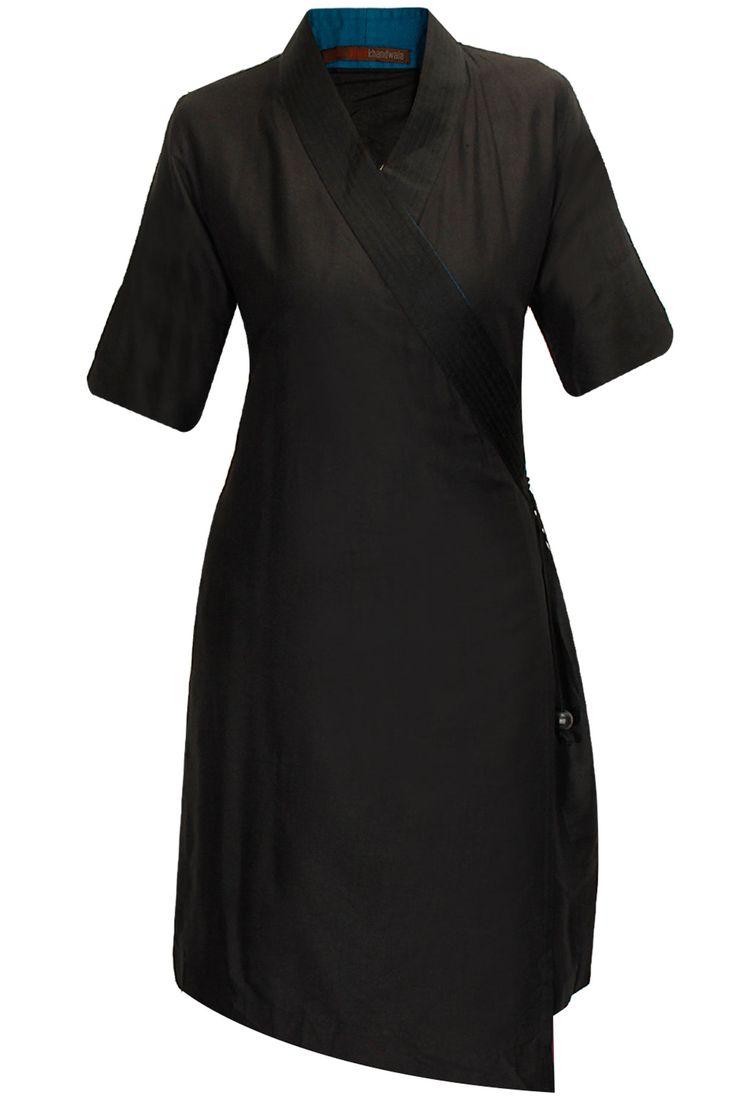 Black wrap tunic by Payal Khandwala. Shop now: www.perniaspopups.... #tunic #cute #designer #payalkhandwala #pretty #clothing #shopnow #perniaspopupshop #happyshopping