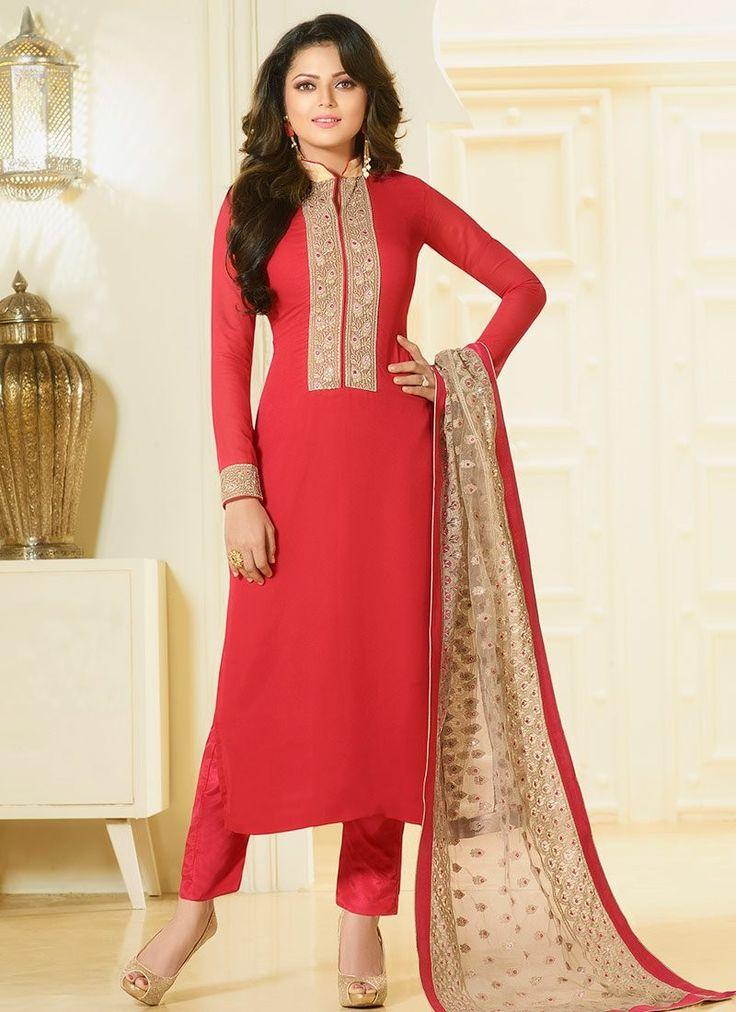 Shop Drashti Dhami cherry color georgette straight cut salwar kameez online at…