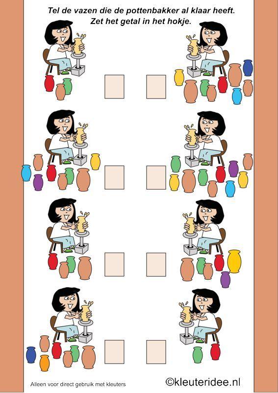 Thema kunst, tel de vazen van de pottenbakker, kleuteridee.nl , Art theme preschool.