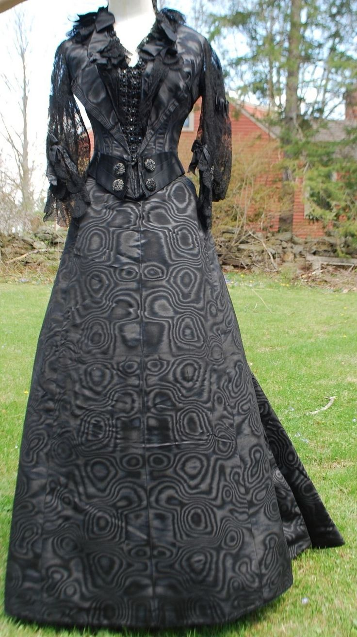 Victorian 19th Century Watered Silk Gown with Paris Petersham Label