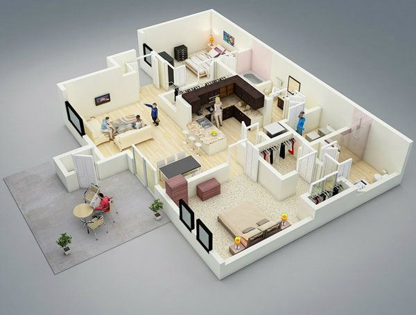 Two Bedroom House Design Pictures Gorgeous 11 Best 3D Plans Images On Pinterest  Sims House Floor Plans And Decorating Design