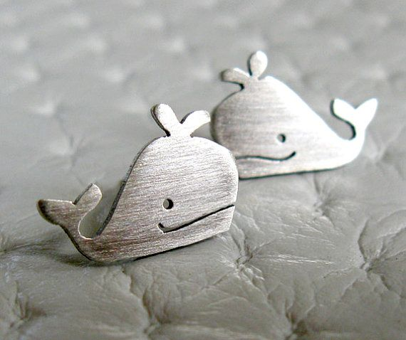 Whale Stud Earrings - Whale Jewelry - Handmade Sterling Silver Jewelry