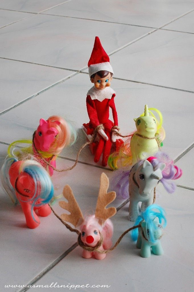 45 Elf on the Shelf Ideas  @Cathy Ma Ma Ma Ma Williams you need to try this since Aaliyah has so many ponys!