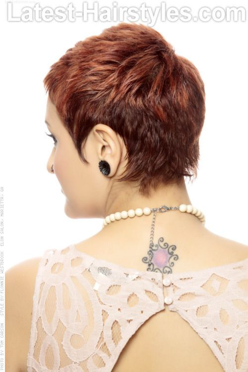 Short Wavy Hairstyle with Copper Tones Back View
