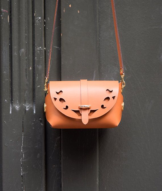 Tabac Leather Cutout Barrel Bag Handmade Leather BagGift for