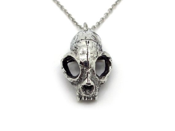 Cat Skull Necklace in Pewter Oxidized Bobcat Pendant by Farjil