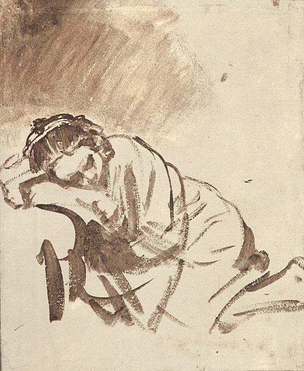 "Rembrandt van Rijn, Leiden, Netherlands, (1606-1669). Dutch painter and etcher. ""A woman sleeping (c. 1655). The British Museum, London."