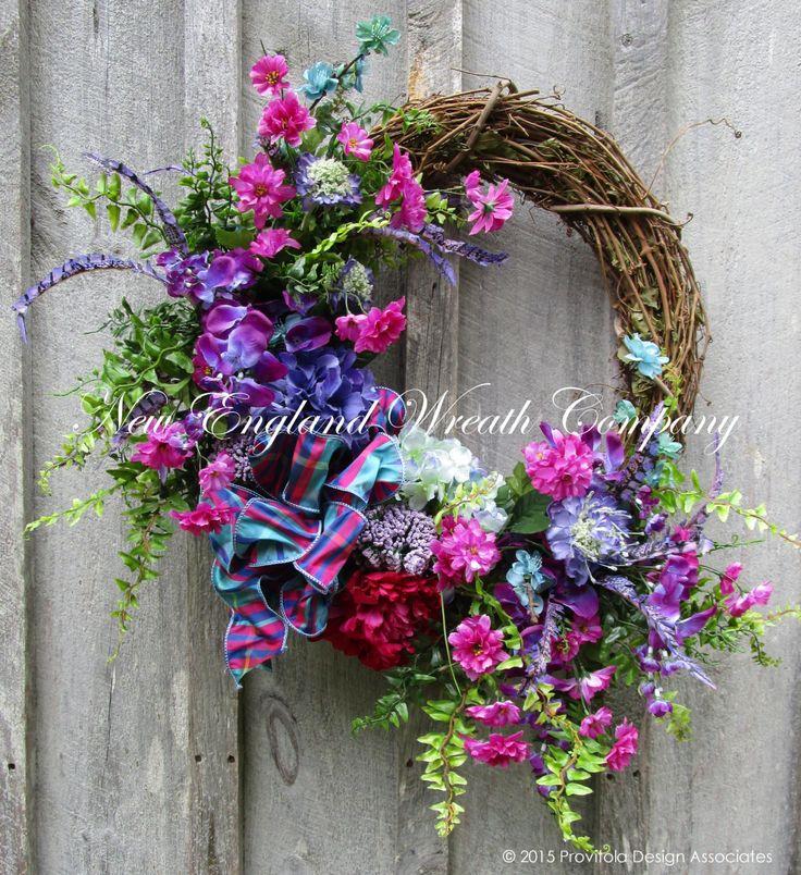 Country Manor Summer Garden Wreath   ~A New England Wreath Company Designer Original~