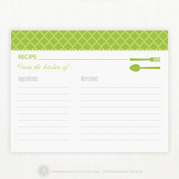 34 best Recipe Card Templates images on Pinterest Free - index card template