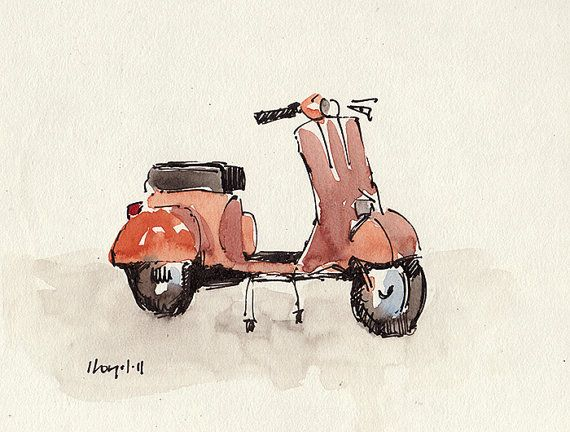 Art Print Vespa Retro Orange Geekery - Orange Vespa by David Lloyd on Etsy, $15.00