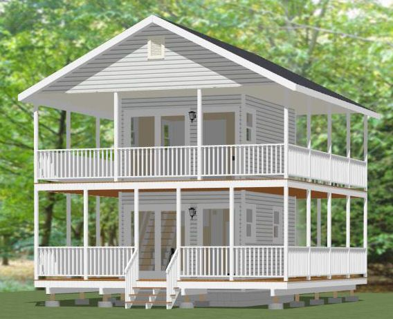 12x16 tiny house 12x16h1a 364 sq ft excellent for House plans with loft and wrap around porch