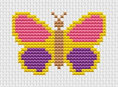 Sew Simple Butterfly cross stitch kit from Fat Cat Cross Stitch Finished size approx 7.1cm x 4.8cm. Kit contains 11ct white aida fabric, stranded embroidery cotton, needle, colour chart and instructions. A brand new kit will be sent directly to you by Fat Cat Cross Stitch - usually within 2-4 working days © Fat Cat Cross Stitch