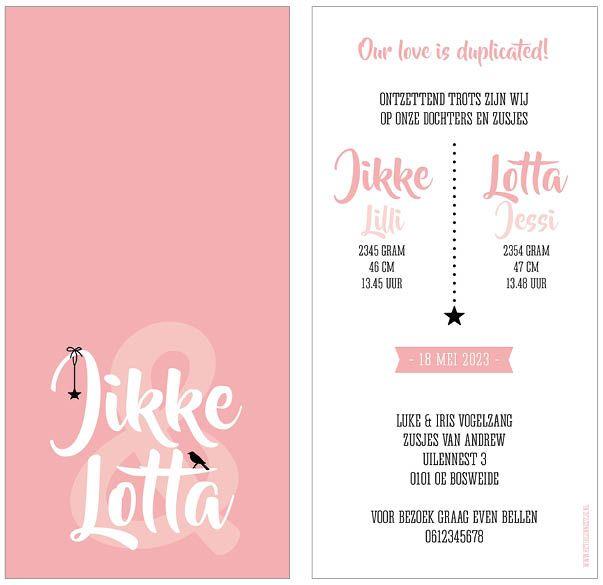 www.hetuilennestje.nl geboortekaartje Jikke en Lotta: Typografisch, roze, wit, zwart, ster, sterren, sterretje, vogel, &-teken, meisje, meisjes, tweeling, drieling, meerling. Het Uilennestje - Geboortekaartjes - Zwolle
