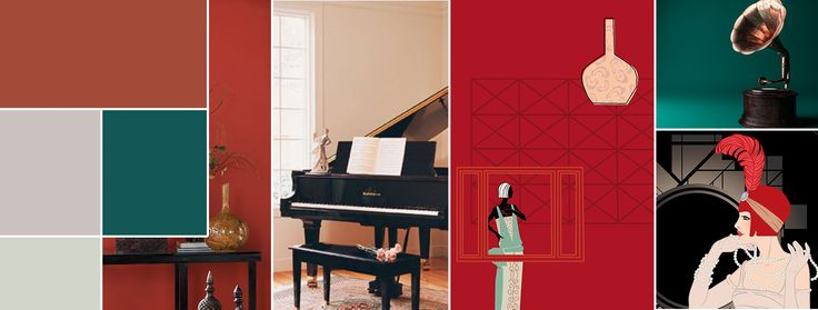 The Jazz Age -- wall colors were generally light neutrals and greys with accessories and accents in vibrant colors like Chinese Red and Blue Peacock.