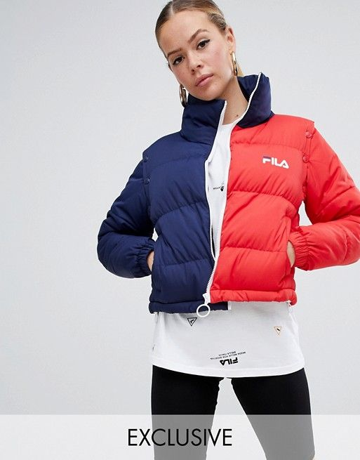 5f718abe69be Fila Padded Jacket With Removable Sleeves In Color Block